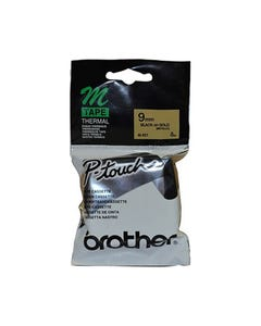 BROTHER M-821 NON LAMINATED LABELLING TAPE 9MM BLACK ON GOLD