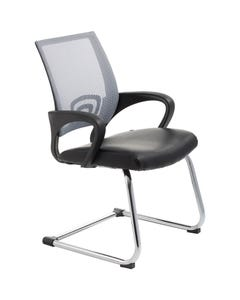 ACE VIEW VISITOR CHAIR WITH ARMS GREY MESH BACK CANTILEVER CHROME FRAME BLACK BONDED LEATHER UPHOLSTERY SEAT