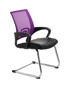 ACE VIEW VISITOR CHAIR WITH ARMS PURPLE MESH BACK CANTILEVER CHROME FRAME BLACK BONDED LEATHER UPHOLSTERY SEAT