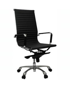 AERO MANAGERS CHAIR HIGH BACK LEATHER WITH ARMS LEATHER BLACK