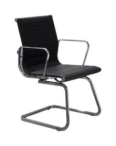 AERO VISITOR CHAIR WITH ARMS PU BLACK