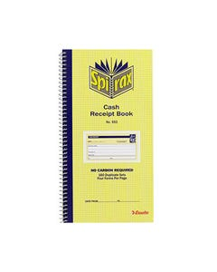 SPIRAX 553 CASH RECEIPT BOOK CARBONLESS 80 PAGE 279 X 144MM