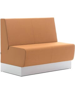 FINESEAT AURA CAFE SEATING MEDIUM BACK SOLID TIMBER FRAME FIXED CUSHIONS 1200MM WIDE ORANGE FABRIC