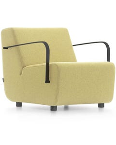 FINESEAT AURA LOUNGE 1 SEATER WITH BLACK ARMRESTS SOLID TIMBER FRAME FIXED CUSHIONS YELLOW FABRIC