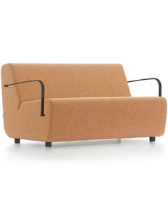 FINESEAT AURA 2 LOUNGE SEATER WITH BLACK ARMRESTS SOLID TIMBER FRAME FIXED CUSHIONS ORANGE FABRIC