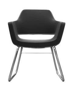 FINESEAT NANO CHAIR CHROME FRAME SLED BASE FULLY MOULDED FOAMED STEEL SHELL BLACK FABRIC