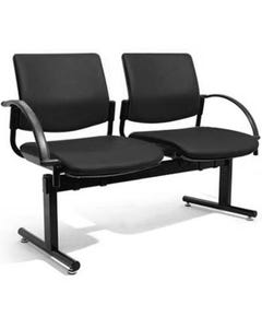 FINESEAT TITAN BEAM CHAIR 2 SEAT WITH END ARMS BLACK FABRIC