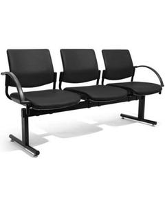FINESEAT TITAN BEAM CHAIR 3 SEAT WITH END ARMS BLACK FABRIC