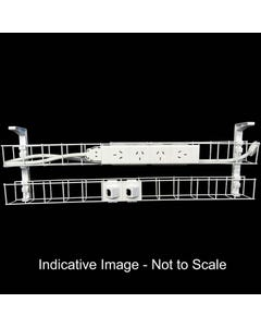 RAPID DUAL TIER CABLE BASKET 1250MM / GPO X 4 / DATA TILES X 2 / LEAD LENGTH 2M