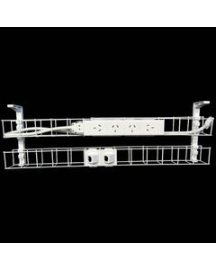 RAPID DUAL TIER CABLE BASKET 650MM / GPO X 4 / DATA TILES X 2 / LEAD LENGTH 1.5M