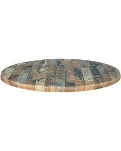 ALEXI STAINLESS STEEL 450MM ROUND TABLE BASE WITH GENTAS ROUND 600MM RUSTIC BLOCK WOOD LOOK DURATOP
