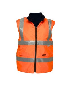 Prime Mover Hi-Vis Waterproof Reversible Fleece Lined Vest with 3M Tape