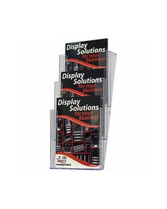 DEFLECTO BROCHURE HOLDER 3 TIER STACKABLE WALL MOUNT A4 CLEAR