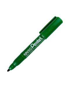 PENTEL NN50 GREEN LABEL PERMANENT MARKER BULLET 1.5MM GREEN BOX 12