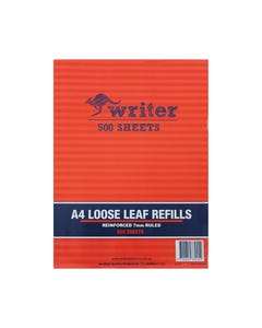 WRITER LOOSE LEAF REFILLS REINFORCED 7MM RULED 57GSM A4 500 SHEET