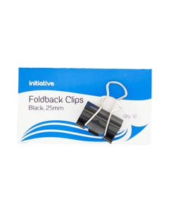 INITIATIVE FOLDBACK CLIP 25MM BLACK PACK 12