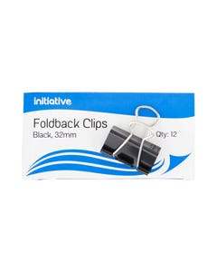 INITIATIVE FOLDBACK CLIP 32MM BLACK PACK 12