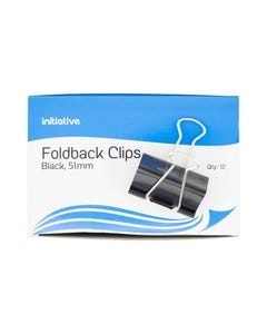 INITIATIVE FOLDBACK CLIP 51MM BLACK PACK 12