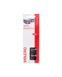 VELCRO BRAND STICK-ON HOOK AND LOOP DOTS 22MM BLACK PACK 12