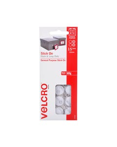 VELCRO BRAND STICK-ON HOOK AND LOOP DOTS 16MM WHITE PACK 15