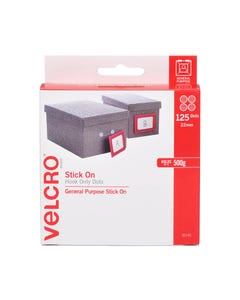 VELCRO BRAND STICK-ON HOOK DOTS 22MM WHITE PACK 125