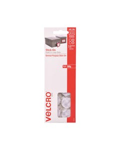 VELCRO BRAND STICK-ON HOOK AND LOOP DOTS 22MM WHITE PACK 12
