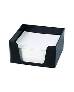 SWS PLASTIC MEMO CUBE WITH 500 BLANK SHEETS BLACK