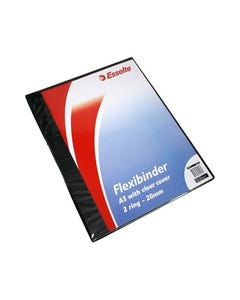 ESSELTE FLEXI BINDER 4 RING 20MM A3 CLEAR COVER BLACK