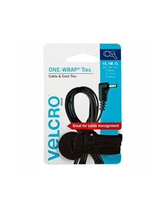 VELCRO BRAND ONE-WRAP CABLE TIES BLACK ASSORTED SIZE PACK 3