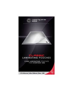GBC LAMINATING POUCH 175 MICRON 65 X 108MM CLEAR PACK 100