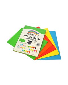 RAINBOW COLOURED A4 COPY PAPER 80GSM 100 SHEETS BRIGHT ASSORTED