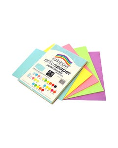 RAINBOW COLOURED A4 COPY PAPER 80GSM 100 SHEETS PASTEL ASSORTED