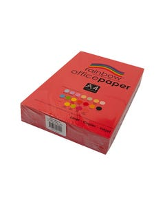 RAINBOW COLOURED A4 COPY PAPER 80GSM 500 SHEETS RED