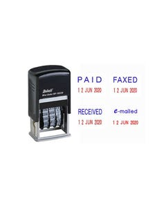 DESKMATE RP-1822D4 SELF-INKING MINI DATE STAMP 4MM 4 PHRASES