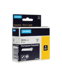 DYMO 1734523 RHINO INDUSTRIAL TAPE PERMANENT POLYESTER 24MM BLACK ON WHITE