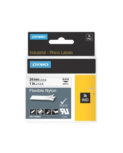 DYMO 1734524 RHINO INDUSTRIAL TAPE FLEXIBLE NYLON 24MM BLACK ON WHITE