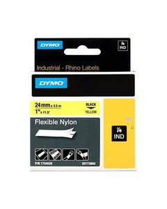 DYMO 1734525 RHINO INDUSTRIAL TAPE FLEXIBLE NYLON 24MM BLACK ON YELLOW