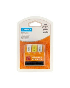 DYMO 1989864 LETRATAG LABELLING TAPE 12MM VARIETY STARTER PACK 3
