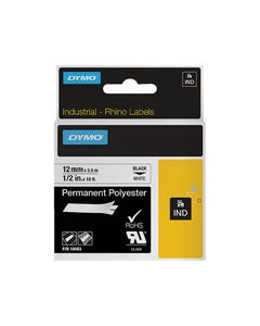DYMO 18483 RHINO INDUSTRIAL TAPE PERMANENT POLYESTER 12MM BLACK ON WHITE