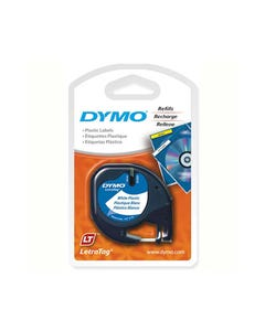 DYMO 91331 LETRATAG PLASTIC LABELLING TAPE 12MM BLACK ON PEARL WHITE