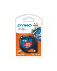 DYMO 91333 LETRATAG PLASTIC LABELLING TAPE 12MM X 4M COSMIC RED