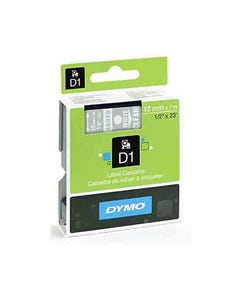 DYMO 45020 D1 LABELLING TAPE 12MM X 7M WHITE ON CLEAR