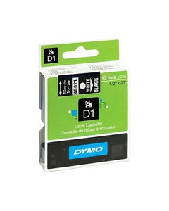 DYMO 45021 D1 LABELLING TAPE 12MM X 7M WHITE ON BLACK