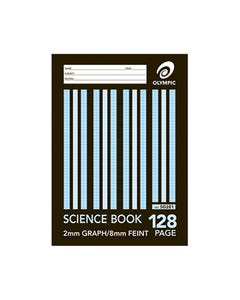 OLYMPIC SG281 SCIENCE BOOK 2MM GRAPH 8MM RULED 128 PAGE 55GSM A4 PACK 10