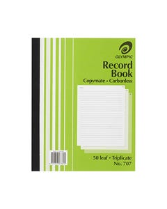 OLYMPIC 707 RECORD BOOK CARBONLESS TRIPLICATE 50 LEAF 250 X 200MM