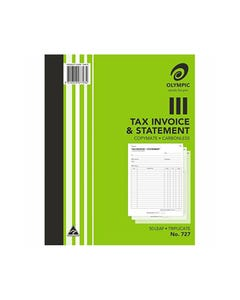 OLYMPIC 727 INVOICE AND STATEMENT BOOK CARBONLESS TRIPLICATE 50 LEAF 250 X 200MM