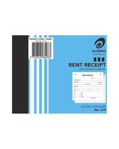 OLYMPIC 619 RENT RECEIPT BOOK CARBON DUPLICATE 100 LEAF 100 X 125MM