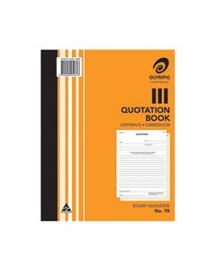 OLYMPIC 70 QUOTATION BOOK CARBONLESS DUPLICATE 50 LEAF 250 X 200MM PACK 10