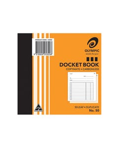 OLYMPIC NO.50 CARBONLESS DOCKET BOOK 50 LEAF 120 X 125MM PACK 20