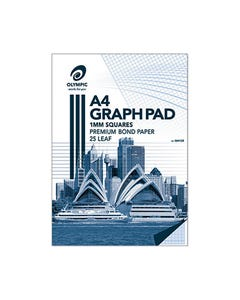 OLYMPIC GH125 GRAPH PAD 1MM SQUARES 70GSM 25 LEAF A4